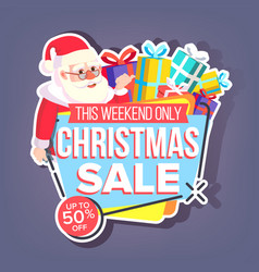 christmas sale sticker santa claus up to vector image