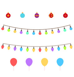 christmas symbols set colorful christmas icons vector image
