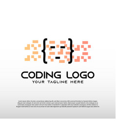 Coding logo with colorful and pixel concept vector