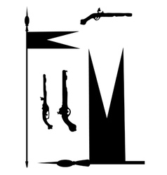 Collection of ancient guns and copies with a flag vector image