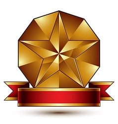 Complicated golden design element with pentagonal vector