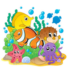 Coral fish theme image 1 vector