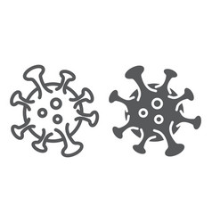 Coronavirus line and glyph icon virus and vector
