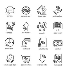 credit and loan icon set investment and budget vector image