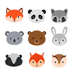 cute animals collection flat style vector image