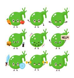 Cute healthy happy and sick unhealthy gallbladder vector