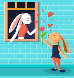 cute rabbit giving rose flower greeting card vector image