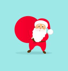 cute santa claus with bag christmas icon vector image