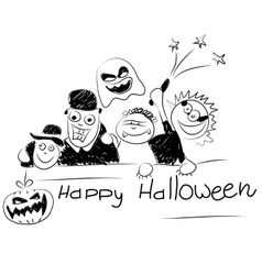 Drawing gay people celebrating Halloween vector