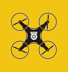 Drone with action camera icon aerial photography vector