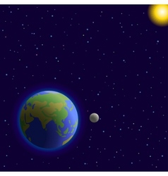 Earth moon and sun vector