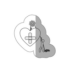 figure people with pulleys hanging the heart with vector image