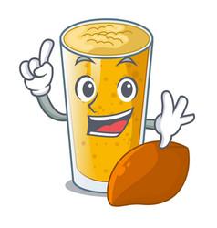 Finger lassi mango in the character fridge vector