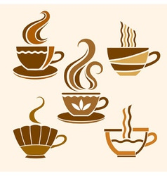 Five stylized cups vector