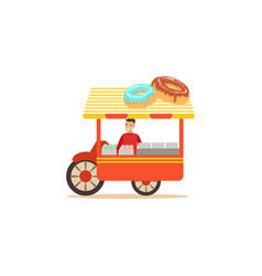 Flat street food cart with donuts vector