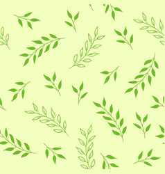 floral seamless pattern green background vector image