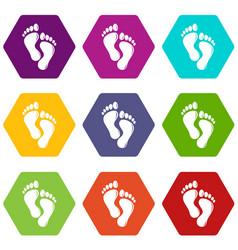 footprints icons set 9 vector image