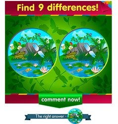 Frog dragonfly 9 differences vector