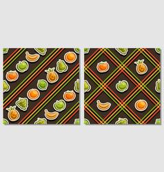 fruit seamless patterns vector image