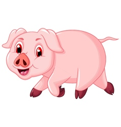 Funny pig cartoon walking vector