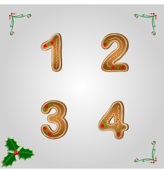 Gingerbread numbers 1 to 4 vector