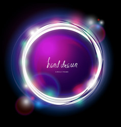 Glowing electric garland circle frame vector