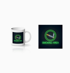 Glowing neon sign smoking place for cup design vector