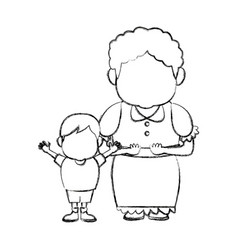 Grandma and her grandson standing together family vector