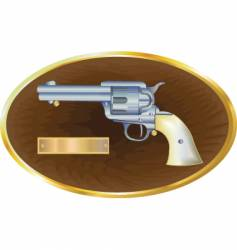 Gun on plaque vector