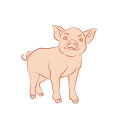 hand drawn cartoon sketch of funny piggy 2019 new vector image
