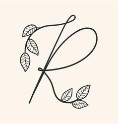 handwritten letter r monogram or logo brand vector image