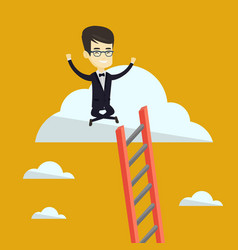 happy business man sitting on the cloud vector image