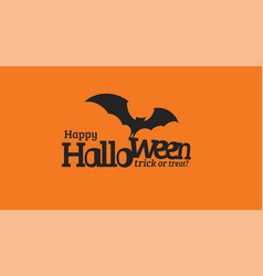 happy halloween text with black silhouette vector image