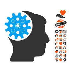 Head gear icon with dating bonus vector