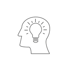 Head with lamp icon come up idea vector