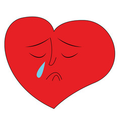 heart crying hand drawn design on white vector image