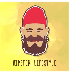 Hipster guy in a red fashion hat vector image