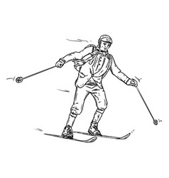 Historic skiing vector