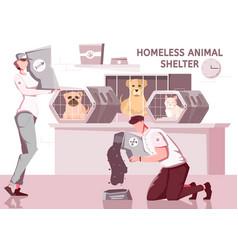 Homeless animal shelter composition vector