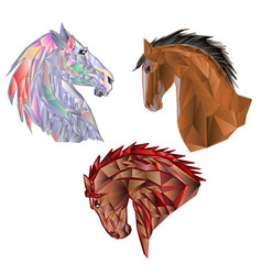 Horses heads polygons coloured and outline vector