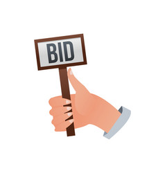 human hands holding bid signs vector image