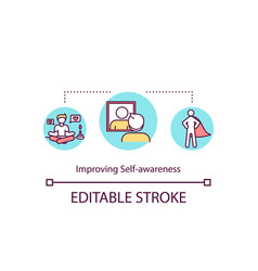 Improving self awareness concept icon vector