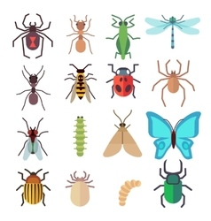 Insect flat icons set vector