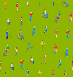 Isometric disabled people characters seamless vector