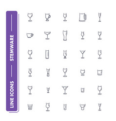 Line icons set stemware vector