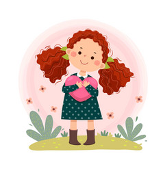 Little red curly hair girl hugging heart shaped vector
