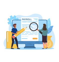 Male and female characters working on payroll vector