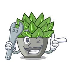 Mechanic cartoon echeveria cactus in cactus garden vector