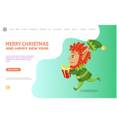 merry christmas and happy new year elf with gift vector image