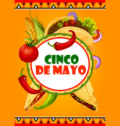 Mexican cinco de mayo mexican fiesta card vector